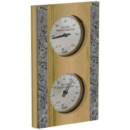 Sawo Thermo-Hygrometer 283-THRD, With stone strip, Vertical, Cedar