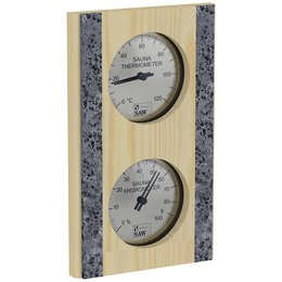 Sawo Thermo-Hygrometer 283-THRP, With stone strip, Vertical, Pine